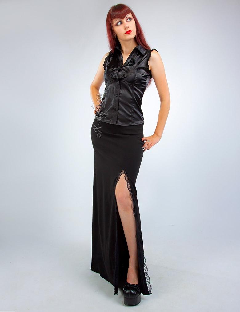 Длинная юбка с разрезом и кружевом, 5