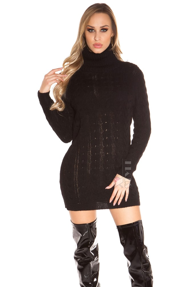 Черный свитер-платье KC5434, 5